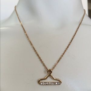 Anthropologie Gold Hanger Crystals Chain Necklace
